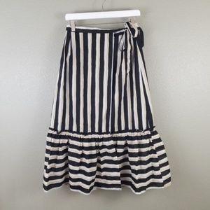 Who What Wear Black White Striped Wrap Midi Skirt